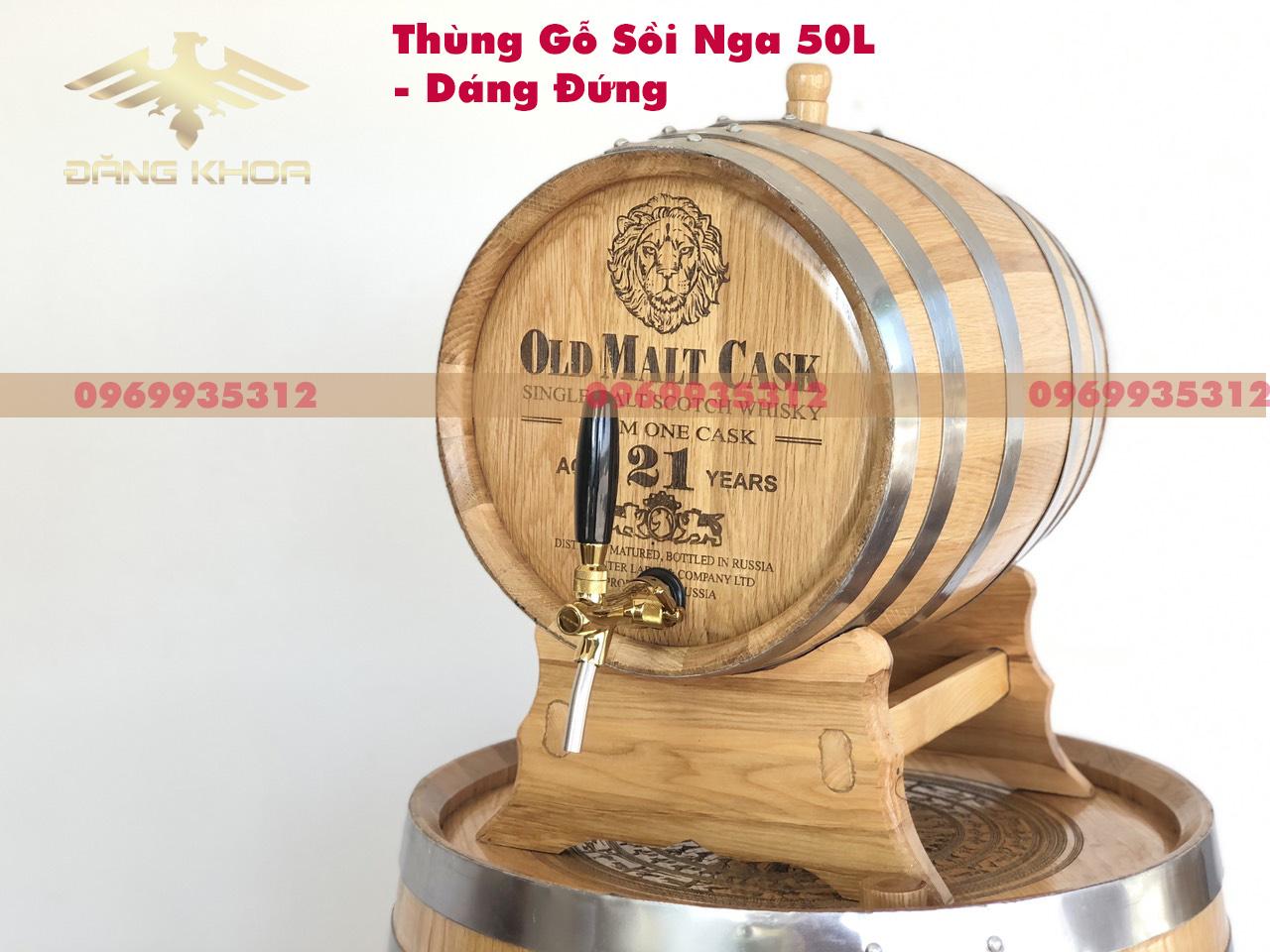 Thùng gỗ sồi nga 50l